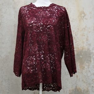 Zara Woman Maroon Lace Blouse
